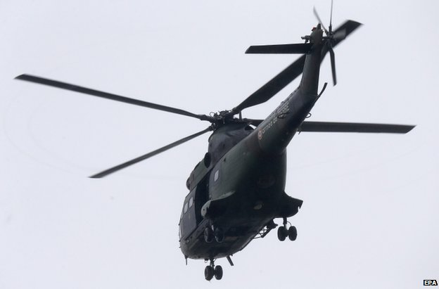 A police helicopter over Dammartin-en-Goele, northern France, 9 January