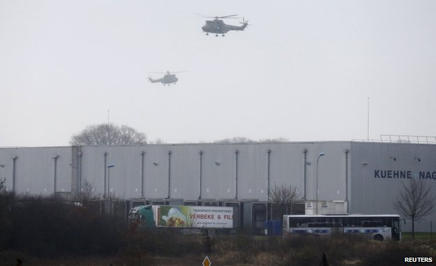 Police helicopters over Dammartin-en-Goele, northern France, 9 January