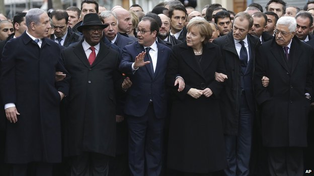 French President Francois Hollande is joined by world leaders in Paris during the unity march.