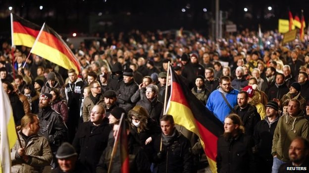 Pegida march in Dresden in December