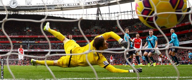 Asmir Boegovic is unable to prevent Arsenal from taking a 3-0 lead