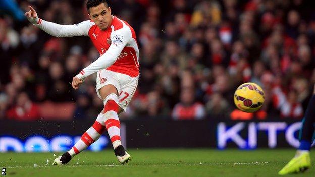 Alexis Sanchez scores Arsenal's third goal from a free-kick