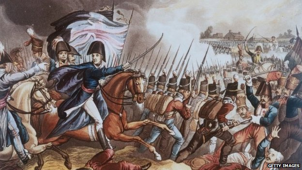 A coloured etching of the battle of Waterloo (c) Getty Images