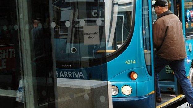 A man using a bus