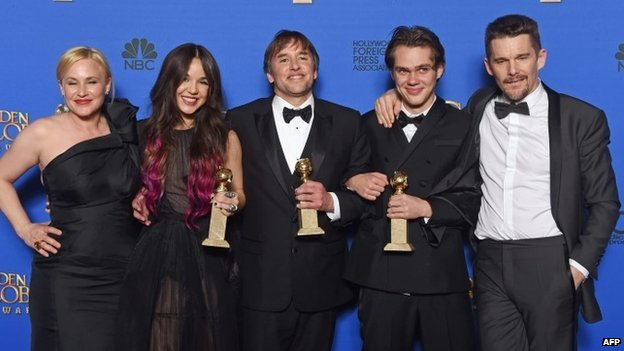 Boyhood cast and director Patricia Arquette, Lorelei Linklater, Richard Linklater, Ellar Coltrane and Ethan Hawke