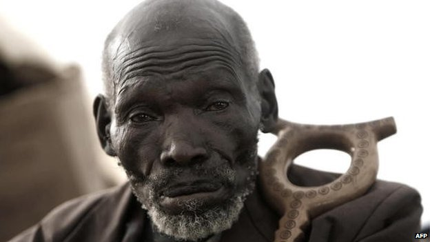 Kimani Nganga Maruge, 84, sits on 19 January 2008 in Eldoret, western Kenya