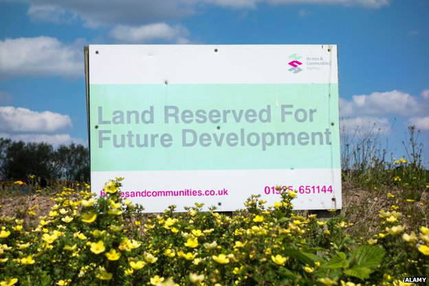 "Sign reads ""land reserved for future development"""