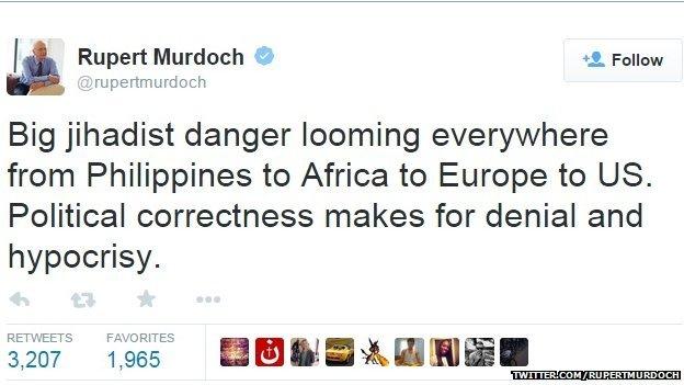 Tweet by Rupert Murdoch