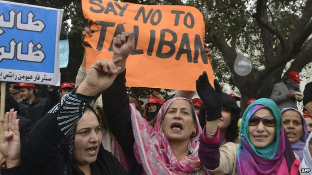 Women protest against the Taliban in Lahore, Pakistan