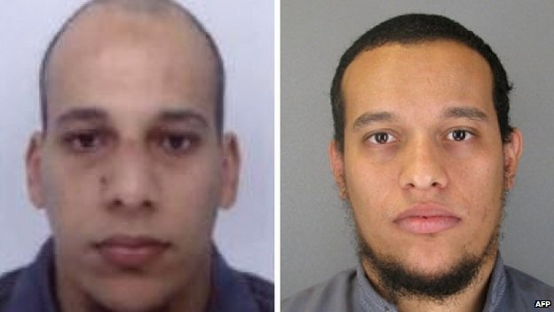 This combo shows handout photos released by French Police in Paris early on January 8, 2015 of suspects Cherif Kouachi (L), aged 32, and his brother Said Kouachi (R), aged 34