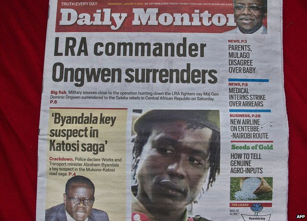 A Ugandan daily dated 7 January 2015 carries a picture of former LRA second-in-command Dominic Ongwen, now in the custody of US special forces based in Central Africa Republic