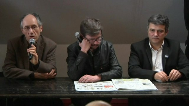 (Left-right) Editor-in-chief of Charlie Hebdo Gerard Biard, cartoonist Renald 'Luz' Luzier and columnist Patrick Pelloux