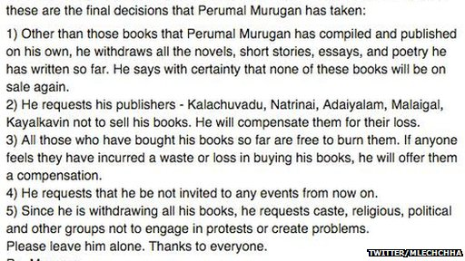The translation of Tamil author Perumal Murugan's post