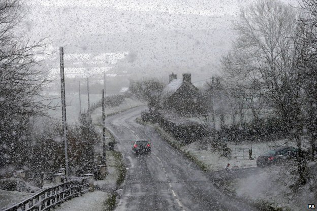 Snow falls in Omagh, Northern Ireland