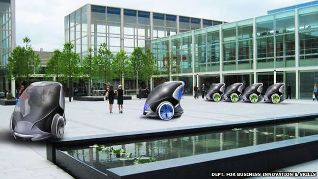 Artist's impression of driverless cars in Milton Keynes