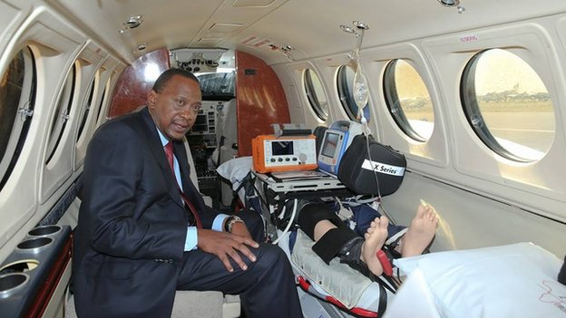 President Kenyatta at the launch of an air ambulance service in Nairobi on 14 January 2015