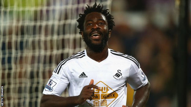 Wilfried Bony celebrates scoring for Swansea