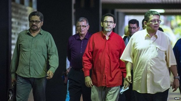Farc commanders arrive at the Convention Palace in Havana on 18 November, 2014.