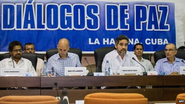 Delegates from the Farc, the Norwegian, Cuban and Colombian governments in Havana on 16 May, 2014.