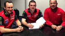 Mick Shanley, Team Manager, Milwaukee Yamaha, Michael Dunlop and Dale McElveen, Commercial Director, Milwaukee UK