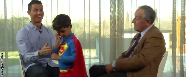 Cristiano Ronaldo and son in Superman costume