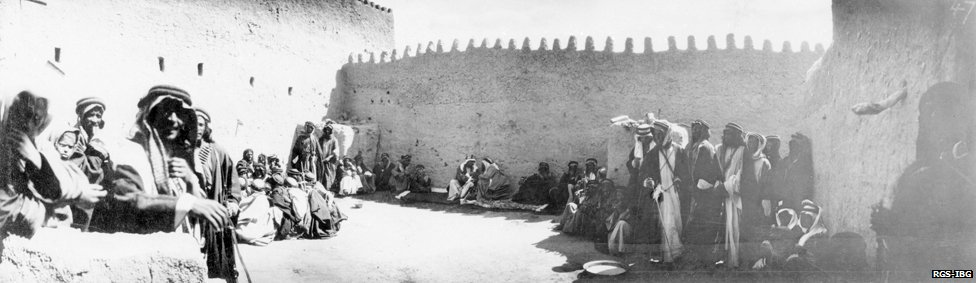Breakfast inside Qasr Marid-Dumat al-Jandal- al-Jawf (panorama) April 1914
