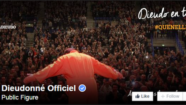 Dieudonne's official Facebook page has nearly 1m 'likes'