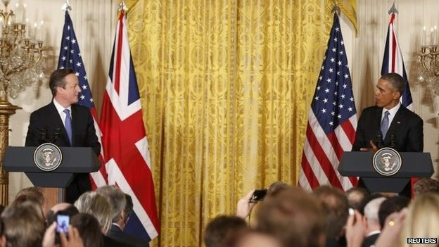 David Cameron speaking at a press conference with Barack Obama in the White House
