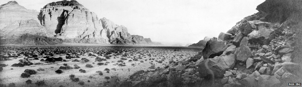 Wadi Rum, north-east of Aqabah, looking north (panorama) May 1914