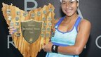 Heather Watson with the Hobart International trophy