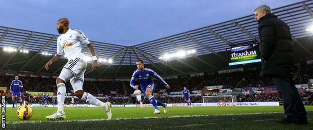 Jose Mourinho looks on during his Chelsea side's 5-0 win at Swansea