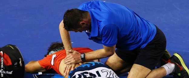Rafael Nadal gets treatment at last year's Australian Open