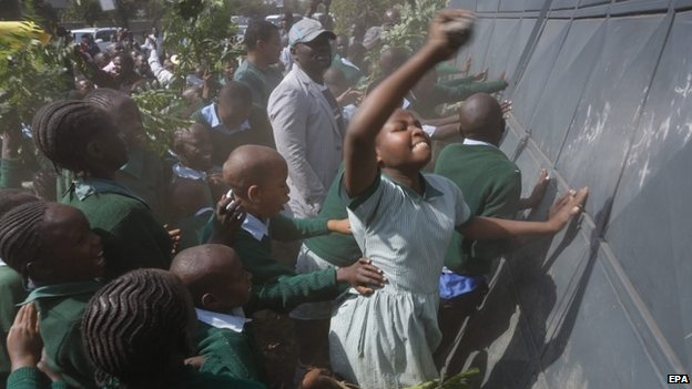 Pupils protesting at Lang'ata school