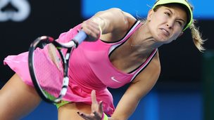 Eugenie Bouchard of Canada in action on day one of the 2015 Australian Open