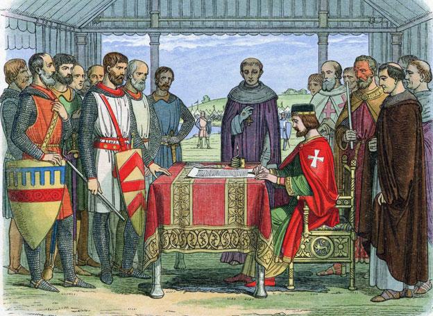 "King John ""signing"" Magna Carta"