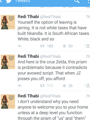 Screen shot of Redi Tlhabi's twitter timeline