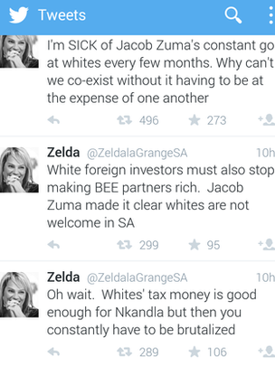 Screen shot of Zelda La Grange twitter timeline
