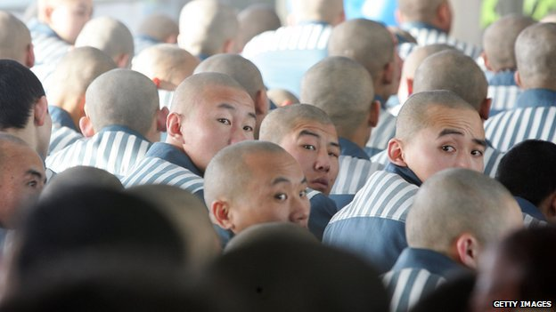 Inmates in a Chinese prison