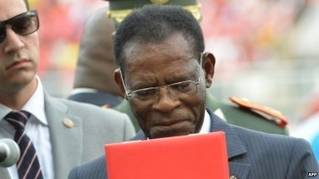 Equatorial Guinea's President Teodoro Obiang Nguema at the 2015 African Cup of Nations in Bata (17 January 2015)