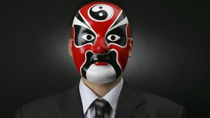 Business man in Chinese mask