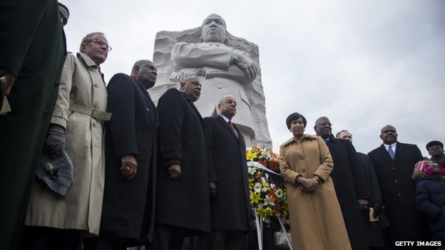 Community leaders gathered at the MLK memorial in Washington