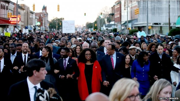 Oprah Winfrey and the cast of the film Selma, which is about King, marched in Alabama
