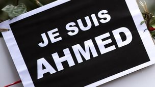 A tribute to police officer Ahmed Merabet who was killed in the Paris attacks