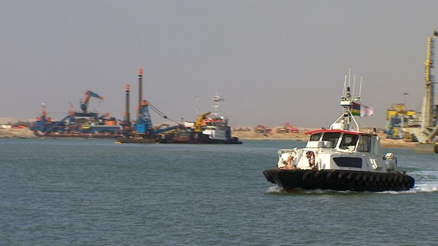 Dredgers work on the second Suez Canal