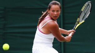 British number 6 Tara Moore plays at Wimbledon