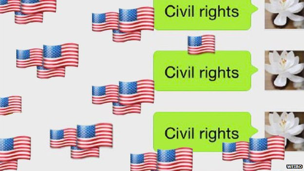 """A WeChat user's screen showing the words """"civil rights"""" and many American flag icons"""
