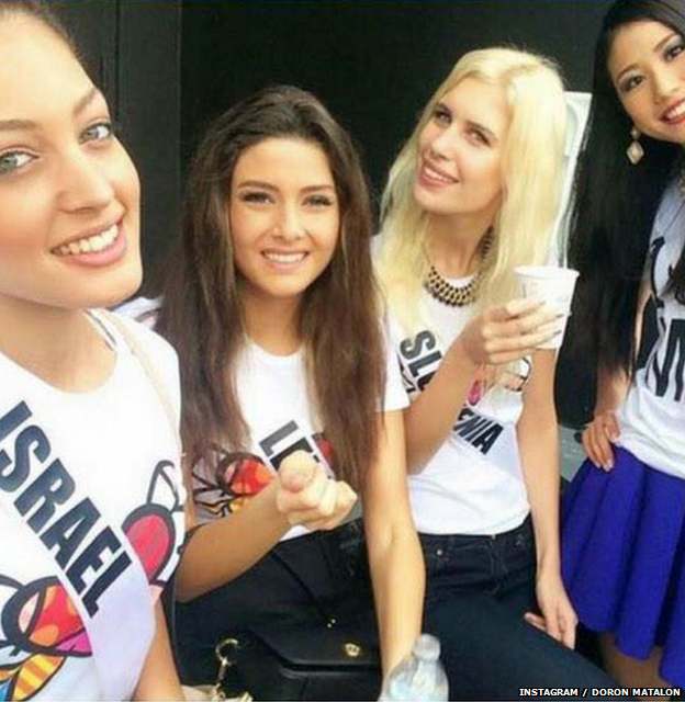Instagram photo of Miss Israel and Miss Lebanon