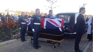 Mr Nutbrown's coffin was draped in the Union flag