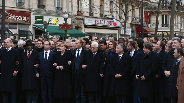 In this photo of the Paris march on 11 Jan, Israeli Prime Minister Benjamin Netanyahu is at the extreme left edge of the picture while Lebanese Foreign Minister Gebran Bassil is at the extreme right edge