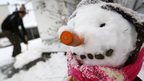 A snowman in Hanau, Germany, 27 December